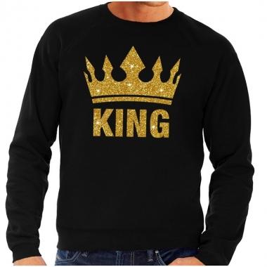 Zwarte king gouden glitter kroon trui heren