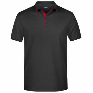 Zwarte premium poloshirt golf pro voor heren