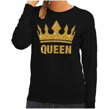 Zwarte queen gouden glitter kroon trui dames