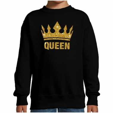 Zwarte queen gouden glitter kroon trui kinderen