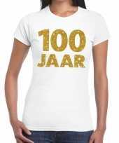 100e verjaardag cadeau t shirt wit met goud voor dames