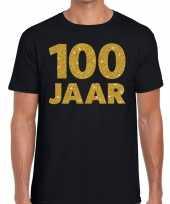 100e verjaardag cadeau t shirt zwart met goud voor heren