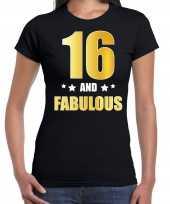 16 and fabulous verjaardag cadeau shirt kleding 16 jaar zwart met goud voor dames
