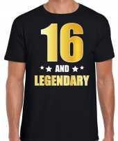 16 and legendary verjaardag cadeau shirt kleding 16 jaar zwart met goud voor heren