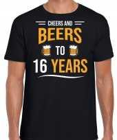 16 jaar cadeau shirt cheers and beers zwart voor heren