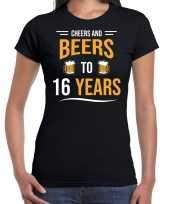 16e verjaardag kado shirt cheers and beers zwart voor dames