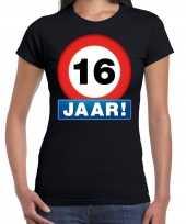16e verjaardag stopbord shirt kleding 16 jaar zwart voor dames