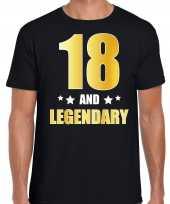 18 and legendary verjaardag cadeau shirt kleding 18 jaar zwart met goud voor heren