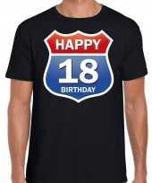 18e verjaardag happy birthday shirt kleding route bord 18 jaar zwart voor heren