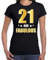 21 and fabulous verjaardag cadeau shirt kleding 21 jaar zwart met goud voor dames