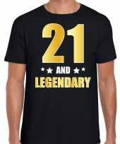 21 and legendary verjaardag cadeau shirt kleding 21 jaar zwart met goud voor heren