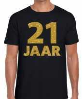 21e verjaardag cadeau t-shirt zwart met goud voor heren