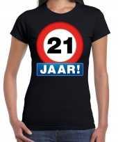 21e verjaardag stopbord shirt kleding 21 jaar zwart voor dames