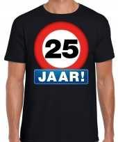 25e verjaardag stopbord shirt kleding 25 jaar zwart voor heren
