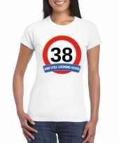 38 jaar verkeersbord t-shirt wit dames