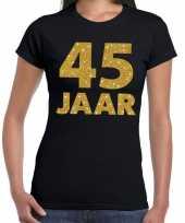 45e verjaardag cadeau t-shirt zwart met goud voor dames