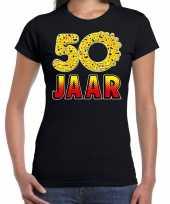 50 jaar emoticon fun sarah shirt dames zwart