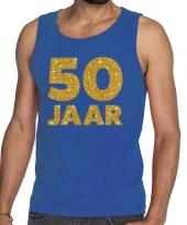 50 jaar fun tanktop mouwloos shirt blauw voor heren