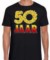 50 jaar funny emoticon shirt heren zwart