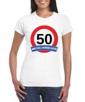 50 jaar verkeersbord t-shirt wit dames