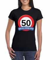 50 jaar verkeersbord t-shirt zwart dames