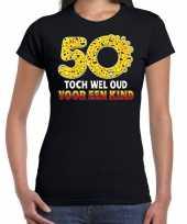 50 toch wel oud voor een kind emoticon fun sarah shirt dames zwart