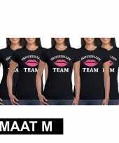 5x vrijgezellenfeest-shirt zwart voor dames maat m