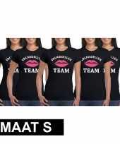 5x vrijgezellenfeest-shirt zwart voor dames maat s