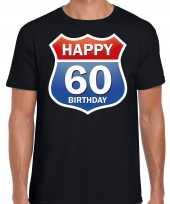 60e verjaardag happy birthday shirt kleding route bord 60 jaar zwart voor heren