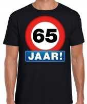 65e verjaardag stopbord shirt kleding 65 jaar zwart voor heren