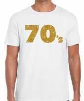 70 s goud letters fun t-shirt wit voor heren