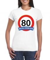 80 jaar verkeersbord t-shirt wit dames