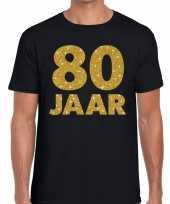 80e verjaardag cadeau t-shirt zwart met goud heren