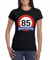 85 jaar verkeersbord t-shirt zwart dames