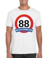 88 jaar verkeersbord t shirt wit heren