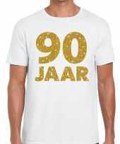 90e verjaardag cadeau t shirt wit met goud voor heren