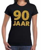 90e verjaardag cadeau t shirt zwart met goud voor dames