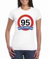 95 jaar verkeersbord t-shirt wit dames