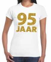 95e verjaardag cadeau t-shirt wit met goud voor dames