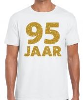 95e verjaardag cadeau t-shirt wit met goud voor heren