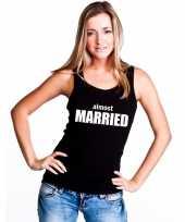 Almost married mouwloos shirt zwart voor dames