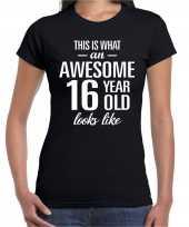 Awesome 16 year cadeau verjaardag t-shirt zwart voor dames
