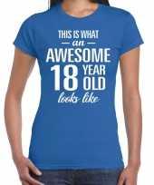Awesome 18 year cadeau verjaardag t-shirt blauw voor dames