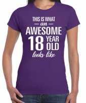 Awesome 18 year cadeau verjaardag t-shirt paars voor dames