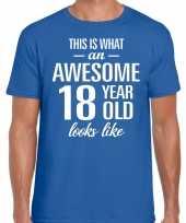 Awesome 18 year verjaardag cadeau t-shirt blauw voor heren
