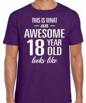 Awesome 18 year verjaardag cadeau t-shirt paars voor heren