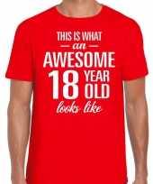 Awesome 18 year verjaardag cadeau t-shirt rood voor heren