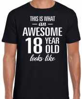 Awesome 18 year verjaardag cadeau t-shirt zwart voor heren