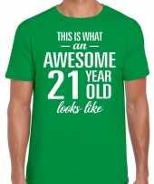 Awesome 21 year verjaardag cadeau t-shirt groen voor heren