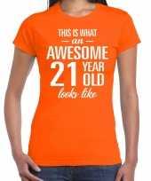 Awesome 21 year verjaardag cadeau t-shirt oranje voor dames